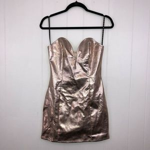 Missguided Plunge Dress Rose Gold 2